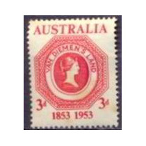 Selo Austrália,cent.selo Tasmânia 1953,novo.