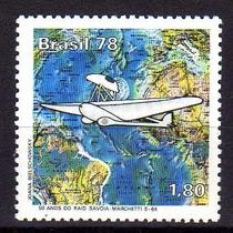 Brasil 1978 * Avião Savoia-m S64 * Mapa Atlântico Sul