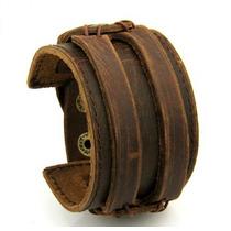Bracelete Pulseira Masculina Couro Legítimo Marrom E Preta