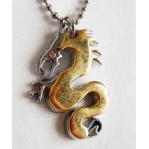 Colar E Pingente Amuleto Aço Inox Dragão Dourado Unissex