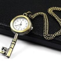 Colar Relógio Pingente De Chave Vintage Retrô Moda Portátil