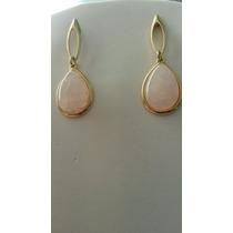 Brinco Semi Jóias Pedra Natural Brasileira Quartzo Rosa