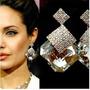 Brinco Feminino Cristal (angelina Jolie) Folheado Ouro 18k