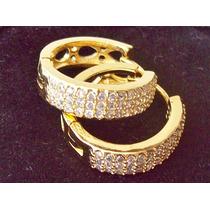 Brinco De Zirconia Banhado Com 6 Milésimos De Ouro 18kl