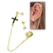 Brinco Ear Cuff Folheado A Ouro Contendo Uma Cruz Em Strass