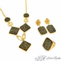 Conjunto Pirita Semi-jóias Pedra Natural - Preço De Revenda