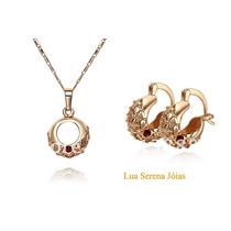 Colar E Brincos Ouro Rose 18k Plated C/cristais Frete Grátis