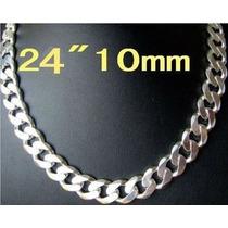 Corrente Banhado Em Prata 925 - 52 Cm 10mm Importada
