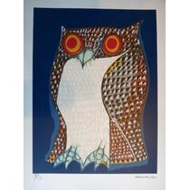 Aldemir Martins - Coruja C/ Fundo Azul - Bela Serigrafia