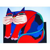 Aldemir Martins Gato Colorido Gravura Serigrafia Póstuma
