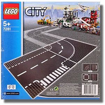 Lego City 7281 Pistas Curva E Cruzamento T , Novo!
