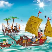 Brinquedo De Montar Barco Pirata Banbao 8707 Tipo Lego