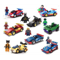 Super Heroes 8 Minifiguras + 8 Carros Similar 361 Pç