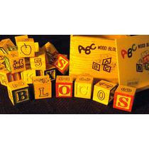 Caixa Bloco Alfabeto Cubo Letras Briquedo Pedagógico Madeira