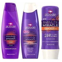 Kit Aussie Smooth Shampoo+condcicionador +mascara Anti Friz