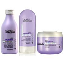 Loreal Liss Unlimited Shampoo + Condicionador + Mascara Kit
