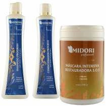 Kit Progress Shampoo Condicionador +l Máscara Sos 1kg Midori