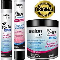 Kit Sos Bomba: Shampoo + Condicionador + Máscara Salon Line