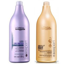 Kit Loréal Liss Unlimited E Absolut Repair Shampoo 1500ml