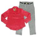 Conjunto Infantil Camisa Cetim Rosa E Calça Tweed Xadrez