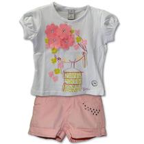 Conjunto Infantil Camiseta Menina Flores E Short Rosa Bitt