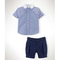 Conjunto Infantil Importado Menor Preç Camisa Bermuda Social