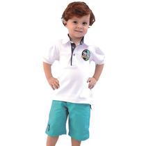Camiseta Polo Infantil Branca E Bermuda Menino Verde Turque