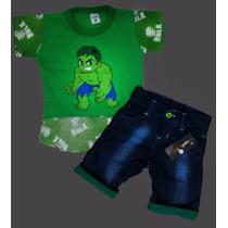 Conjunto Infantil Super Homem Batman H.aranha Bermuda Jeans