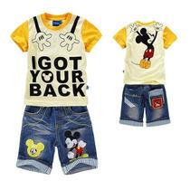 Conjunto Infantil Mickey Menino Bermuda Jeans Camiseta Amare