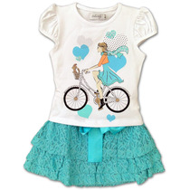 Conjunto Infantil Top Menina Bike E Saia Renda Verde Dolce