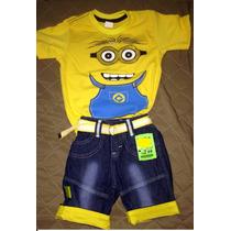 Shorts Jeans+blusa+cinto Bobesponja Hulk Minion Frete Gratis