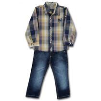 Conjunto Infantil Camisa Xadrez Azul E Calça Em Jeans Sô
