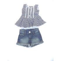 Conjunto Infantil Shorts Jeans E Blusa Xadrez Preta Douvelin