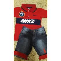 Roupa De Criança - Frete Grátis - Bermuda Jeans Com Camiseta
