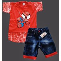 Camiseta E Bermuda Jeans Infantil Heróis Batman Homem Aranha