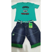 Bermuda Jeans+cinto+blusa Hulk Homem Aranha Bob 6 8 10 Anos