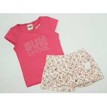 Conjunto Infantil Menina Blusa Rosa Shorts-saia Florido