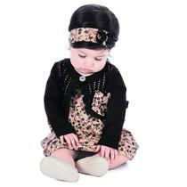 Conjunto Casaquinho Bolero E Vestido Bebê Floral Hello K