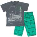 Camiseta Infantil Roda Gigante E Bermuda Xadrez Bittix