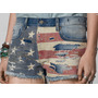 Short Jeans Destroyed Flag Bandeira Americana Ralph Lauren