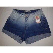 Short Jeans Cintura Alta Hot Pants Estilo Panicat Com Lycra