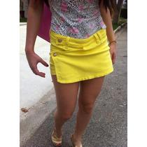 Shorts Saia Sawary Amarelo E Jeans Coleção Verão 2015