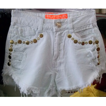 Short Jeans Feminino Hot Pant Destroyed Cós Alto Customizado