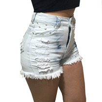 Shorts Hot Pant Cintura Alta Jeans Claro Customizado Curto