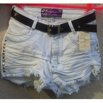 Short Jeans Feminino Customizado Hot Pant Destroyer + Cinto