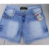 Short Jeans Feminino Cós Alto Perola Strass 46 A 54 Barato