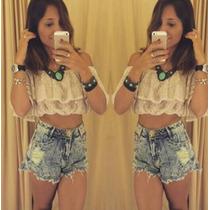 Shorts Jeans Degrant Desfiado Craquelado Hot Pants