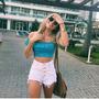 Shorts Jeans Feminino Cintura Alta Hot Pants Com 4 Botões