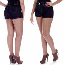 Sawary Short Jeans Feminino Cintura Alta Com Lycra Hot Pant