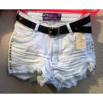Short Jeans Feminino Customizado Detonado Destroyed + Cinto